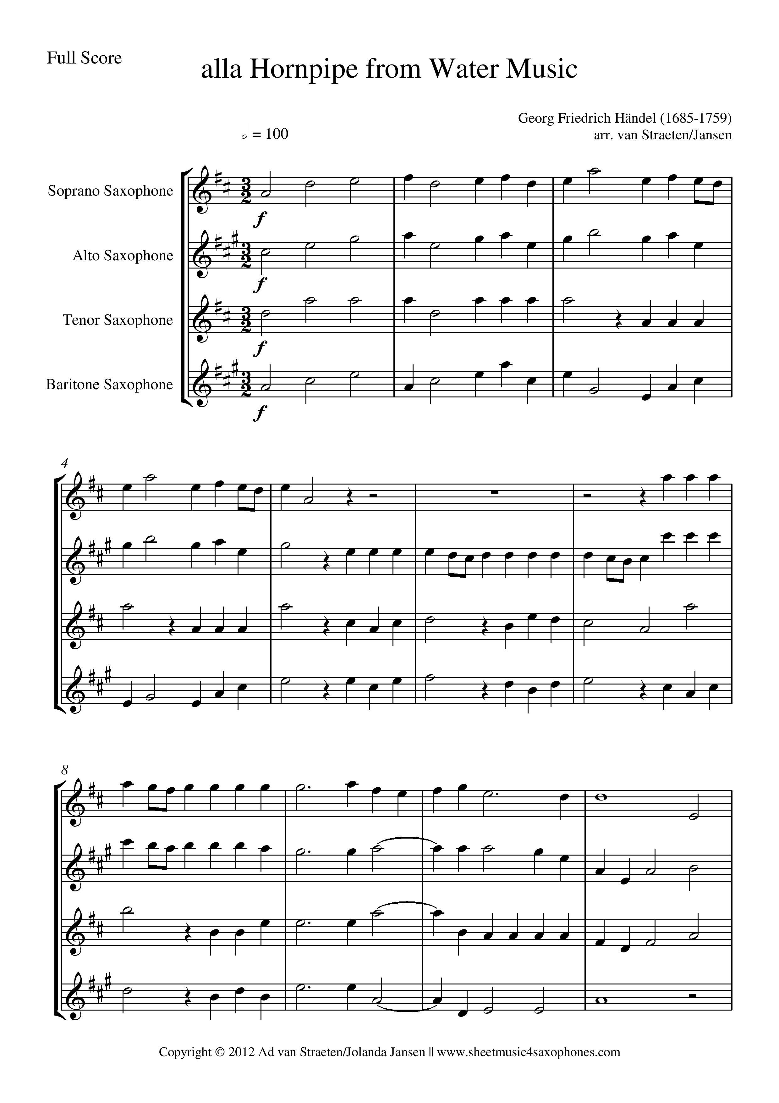 Händel: alla Hornpipe from Water Music for Saxophone Quartet