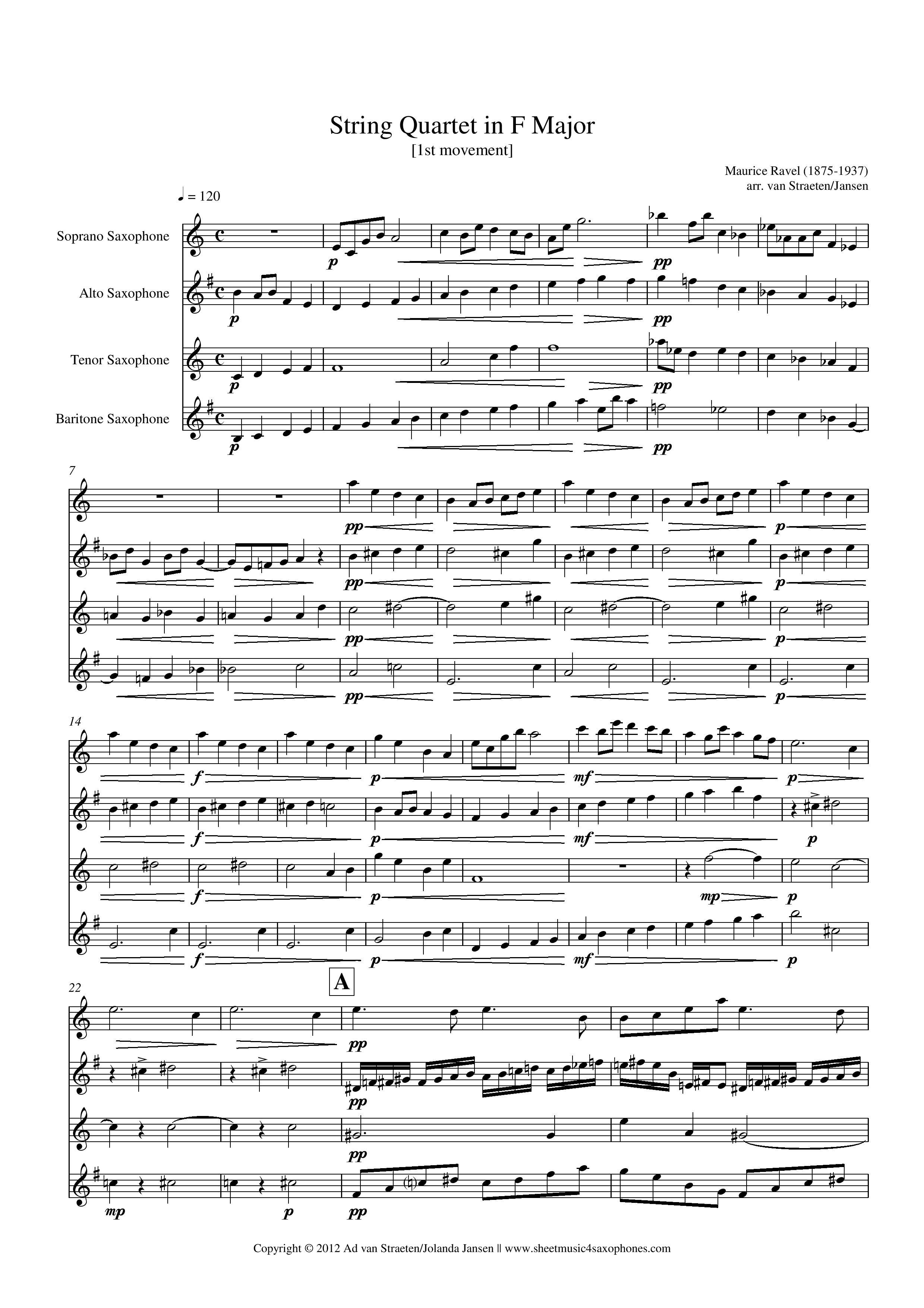 String Quartet in F Major, Movement 4 - Score