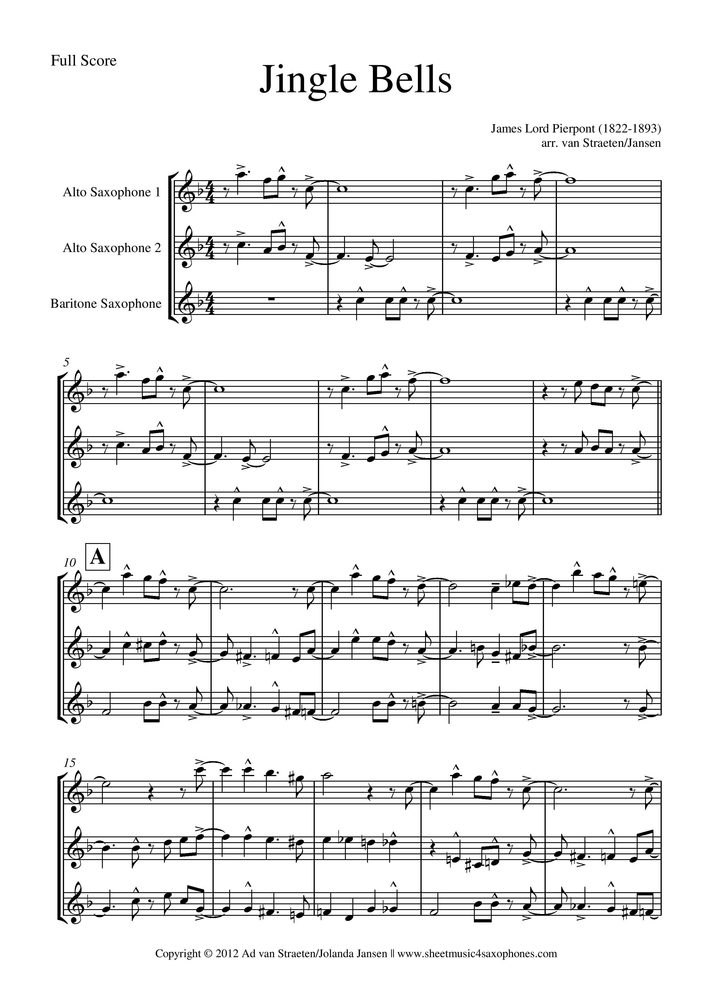 Pierpont: Jingle Bells for Saxophone Quartet, Quintet, Trio and Duo