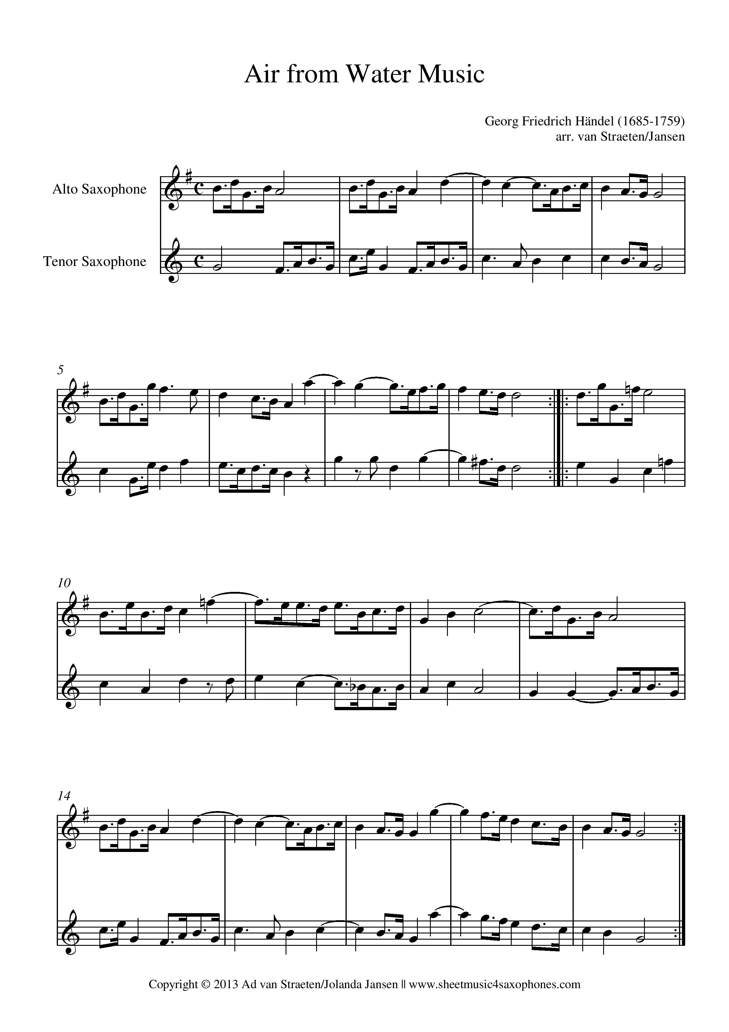 Händel: Air from Water Music for Saxophone