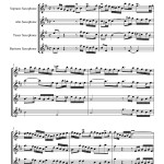 Bach: Invention no 7 for saxophone quartet sample page